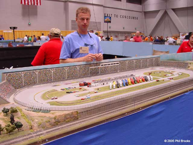 Eric and an early version of the race track module at the 2005 National Train Show