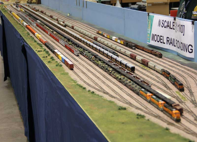 All 32 feet of the yard in use at the Mad City Model Railroad Show 2013